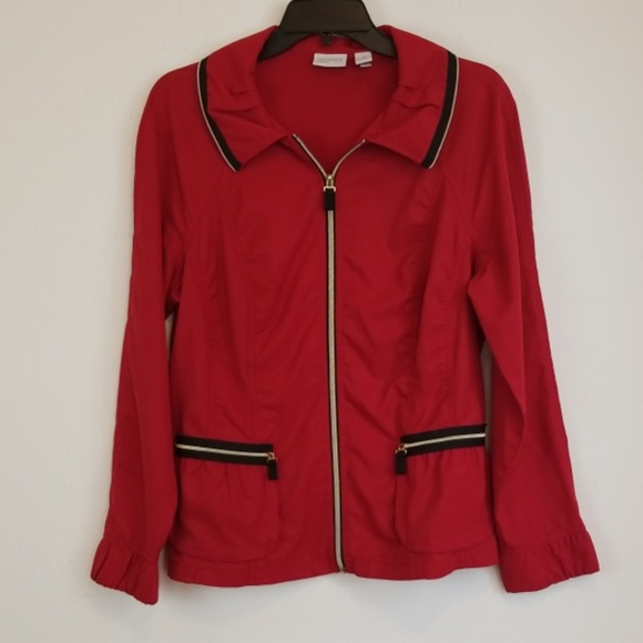 Chico's Jackets & Blazers - Chico's red zip up blazer/jacket size 1/M